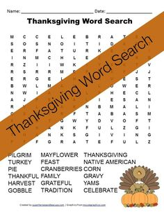Free Printable - Thanksgiving Word Search
