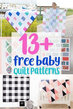 Sewing For Beginners 13 Easy Free Baby Quilt Patterns to Sew! Here are some absolutely charming Free Baby Quilt Patterns for Beginners to sew! Baby quilts are the best! They are adorable and come together so quickly. Easy Sewing Projects, Sewing Projects For Beginners, Sewing Tutorials, Sewing Tips, Sewing Hacks, Sewing Ideas, Baby Quilt Tutorials, Sewing Basics, Learn Sewing