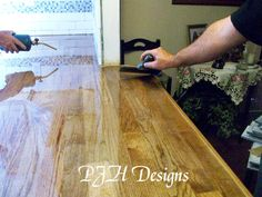 PJH Designs Hand Painted Antique Furniture: Kitchen Remodel: Butcher Block Counter Tops @ The Cost Diy Wood Countertops, Outdoor Kitchen Countertops, Butcher Block Countertops, Butcher Blocks, Kitchen Counters, Unique Furniture, Kitchen Furniture, Vintage Furniture, Log Furniture