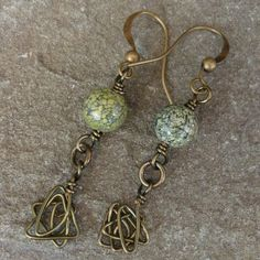 Green Moss Agate Handmade Earrings with Hammered Brass