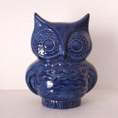 Ceramic Owl Planter Vintage Design Navy Blue by fruitflypie #JulepColorChallenge #CreateYourJulepColor