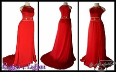 Flowy bright red and gold matric dance dress with a slit and a train, underbust belt and neckline detailed with gold. #mariselaveludo #fashion #matricdance #matricdress #passion4fashion #reddress #redeveningdress #promdress