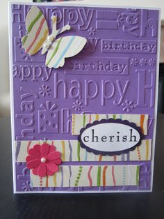 Happy Birthday Cherish Handmade Greeting Card  via Etsy.
