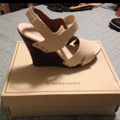 BCBG WEDGE SANDAL Ivory colored sandals with a wood wedge. Style- MA-SCARLET. Straps are extremely comfortable. Original box included, never worn BCBG Shoes Wedges