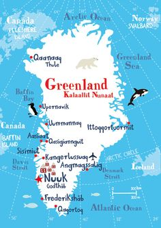 Illustrated Map of Greenland 11.69 x 16.54 by biancatschaikner
