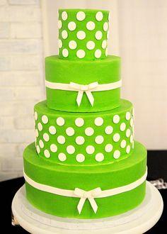 custom-wedding-cake-green-white-polkadots-bows.jpg