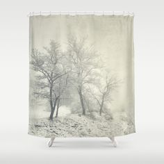 Into the fog. Retro Shower Curtain