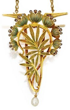 """Louis Aucoc 1901-02 'Art Nou-veau' Brooch-Pendant Necklace: gold, platinum, enamel, diamond. pearl. Designed as lotus flowers & leaves applied w/green enamel, accented by small rose-cut diamonds, supporting a pearl pendant, together w/a gold link necklace, 19"""" long, maker's mark for Aucoc, FR assay marks"""