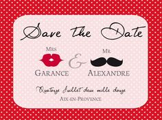 Save the date - à pois rouge & Blanc