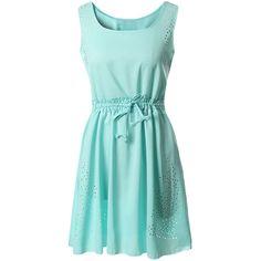Green Plain Sleeveless Tunic Fashion Womens Midi Dress ($18) ❤ liked on Polyvore featuring dresses, green, mid calf dresses, sleeveless dress, blue midi dress, green dress and no sleeve dress