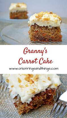 Granny's Carrot Cake is a super moist carrot cake with pineapples, nuts and raisins; topped with a delicious cream cheese frosting via @lalainespins