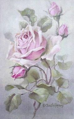 Christie Repasy Pink Rose Original Canvas Print, featuring a pink roses, this canvas print is an original painting by Christie Repasy. Vintage Abbildungen, Vintage Rosen, Decoupage Vintage, Decoupage Paper, Vintage Cards, Vintage Paper, Vintage Postcards, Vintage Prints, Vintage Floral