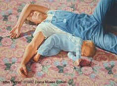 """Art Gift Idea """"After Dinner"""" Portrait /Figurative Family Imagery: father and son napping on Victorian carpet Diana Moses Botkin -- Diana Moses Botkin Mother And Child Reunion, Father And Son, Fathers Love, Happy Fathers Day, Grandma Quotes, Family Images, Kids Sleep, Western Art, Portrait"""