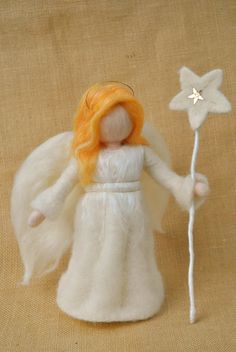 Christmas Angel Waldorf inspired needle felted doll/soft sculpture: Angel with star
