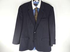 45L Mens Brooks Brothers Madison Sport Coat Blazer Suit Jacket Pinstripe Italy #BrooksBrothersMadison #TwoButton