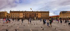 Bogota, Colombia: Parliament Building on Plaza Bolivar; Overcast afternoon. stock photo