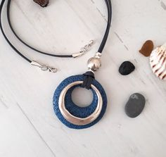 Rock Necklace, Blue Necklace, Leather Necklace, Leather Jewelry, Silver Bracelets For Women, Turquoise Pendant, Women's Jewelry, Lava, Gifts For Her