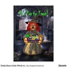 Dinky Bears Little Witch with Cookies Card