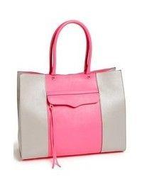 Rebecca Minkoff Mab Medium Tote Grey Neon Pink