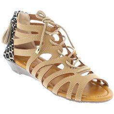 Shoes of Soul Women's Lace Sandal, Size: 8, Beige