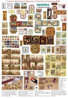 Book, Food Labels, Signs, and Boxes, Prints Courtesy of Miniaturas - Dolls House Miniatures Magazine Z Miniature Furniture, Doll Furniture, Dollhouse Furniture, Miniature Crafts, Miniature Houses, Miniature Food, Diy Dollhouse, Miniature Dollhouse, Etiquette Vintage