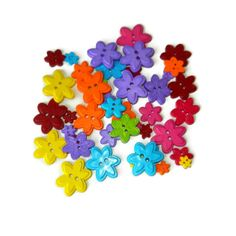 Two Hole Colorful Flower Buttons Plastic 44 by CloudNineSupplyShop, $4.50