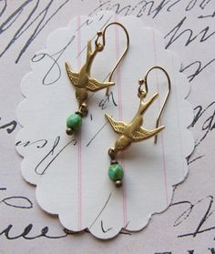 bird earrings: easy jewelry. love these! simple and beautiful!