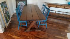 """James+James 6'x37"""" Trestle Table with a traditional top and all stained in Dark Walnut.  Rustic handmade solid wood custom dining furniture picnic style small dining room hardwood floors"""