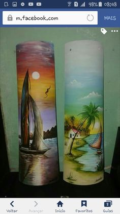Painted Fan Blades, Palm Tree Drawing, Tuile, Clay Tiles, Bottle Art, Acrylic Art, Fabric Painting, Cute Drawings, Decoupage