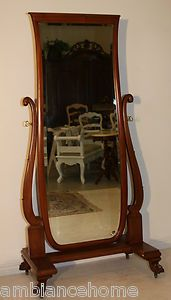 Magnificent Antique Dressing Mirror on Casters with Carved Feet on Casters