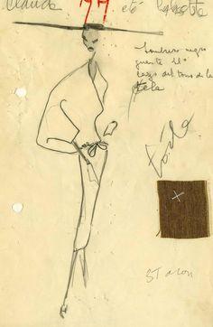 Balenciaga S/S 1953 design sketch. Balenciaga Vintage, Fashion Sketchbook, Fashion Sketches, Fashion Drawings, Christian Dior, Fashion Illustration Vintage, Fashion Illustrations, Vintage Outfits, Vintage Fashion