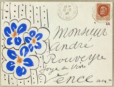 Henri Matisse Letter To André Rouveyre, letter art, envelope, envelope art, envelope drawing, letter drawing, art, drawing, Henri Matisse, André Rouveyre, Henri Matisse letter, flowers