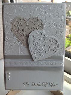 Made by Lynne Lee - Spellbinders vines of passion heart die cuts with Spellbinders hearts embossing folder & Tattered Lace sentiment dies.