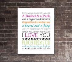 BUSHEL AND A PECK Printable Lyrics Artwork  by JaydotCreative, $8.00