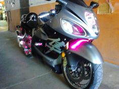 Custom LED lights on a Suzuki Hayabusa - we did multi light on dial so it changes colors on a timer!