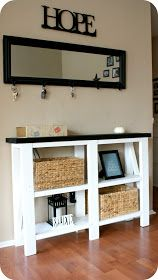 Hello hello!     Today I want to share with you my entry way table.      We got the plans from  Ana White's Rustic X Console Design , but b...