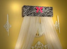 Zebra hot pink Bed Canopy CROWN Princess <3