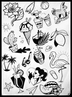 Couple Tattoos, Love Tattoos, Body Art Tattoos, Small Tattoos, Tattoo Flash Sheet, Tattoo Flash Art, Tattoo Sketches, Tattoo Drawings, Mandala Compass Tattoo