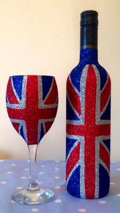 Glitter Glass Union Jack Design by CraftyToad1 on Etsy
