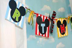 Banner at a Mickey Mouse Clubhouse Party via Kara's Party Ideas Kara'sPartyIdeas.com