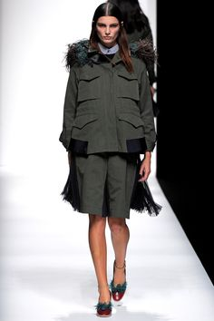 Love the silhouettes of the jacket.   #TOKYOFW   #Sacai   #ChitoseAbe   #SS13   #pleatedskirt   #military   #fringe   #avantgarde