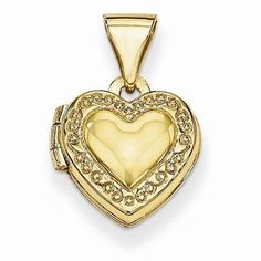 """NEW 14K YELLOW GOLD HEART SHAPED LOCKET .60"""" PENDANT OR CHARM FOR NECKLACE #Locket"""