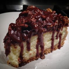 """""""Done and in our tummies. Turtle cheesecake with bourbon chocolate compote, rum marinated sugar glazed pecans, caramel ganache, and a sprinkling of fresh…"""""""