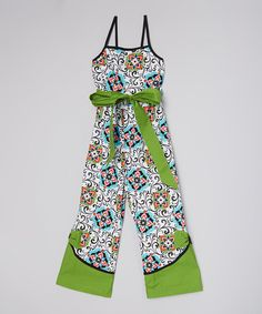 Another great find on #zulily! Green Geo Floral Jumpsuit - Infant, Toddler & Girls #zulilyfinds