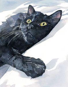 Black #cat watercolor painting - Studio Tuesday Blog