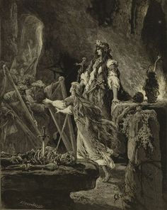 Michał Elwiro Andriolli - Illustration for 'Lilla Weneda' Modern Vintage Photography, Earth Poster, Pagan Gods, Pale Horse, Dance Of Death, Esoteric Art, Ghost Pictures, Dark Material, Illustration Sketches