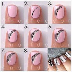 #Nageldesign #Nailart: Rosa Nägel mit schwarz weißen Federn - Simple feather nails