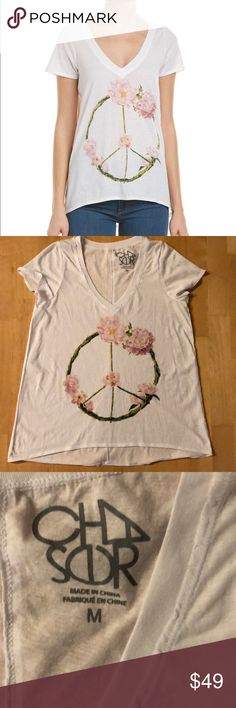 """Chaser Wreath Peace Sign V-Neck T-shirt NWT Loose fit v-neck T-shirt with pretty flower wreath peace sign print. Bust measures 19"""" across pit to pit. New with tags Chaser Tops Tees - Short Sleeve"""