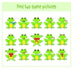 Buy Cartoon Frogs by on GraphicRiver. Cartoon Vector Illustration of Finding Two Exactly the Same Pictures Educational Activity for Preschool Children with. Event Flyer Templates, Business Powerpoint Templates, Frog Games, Preschool Puzzles, Educational Activities, Cartoon Characters, Kids Learning, School Search, Illustration