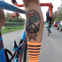 Bike tattoo by Michiel van der Born. #bike #fixie #biker #cyclist #biking #sport #traditional